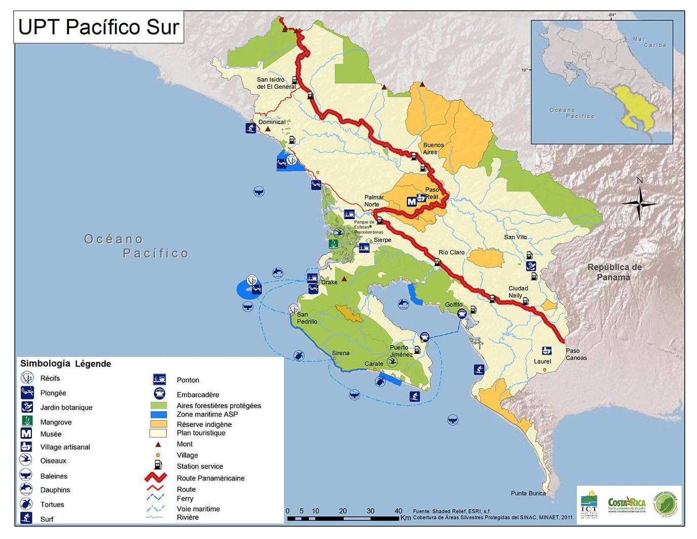 Carte Pacifique Sud Costa Rica